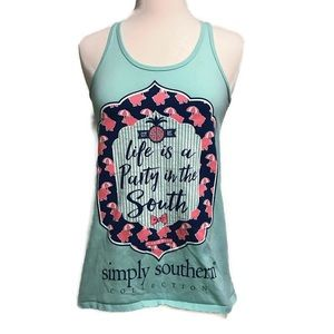 Simply Southern Mint Green Racerback Tank Small